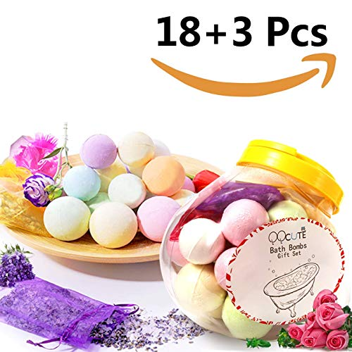 QQcute Bath Bombs Gift Set 18 Family Spa Vegan Lush Fizzies With Natural Essential Oils3 Flower Pental Bags Moisturize Dry Skin Best Birthday Gifts For